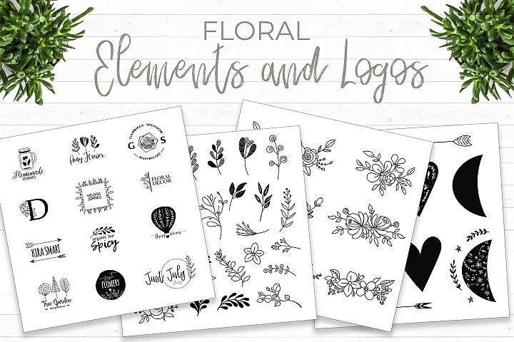 Floral elements and logos