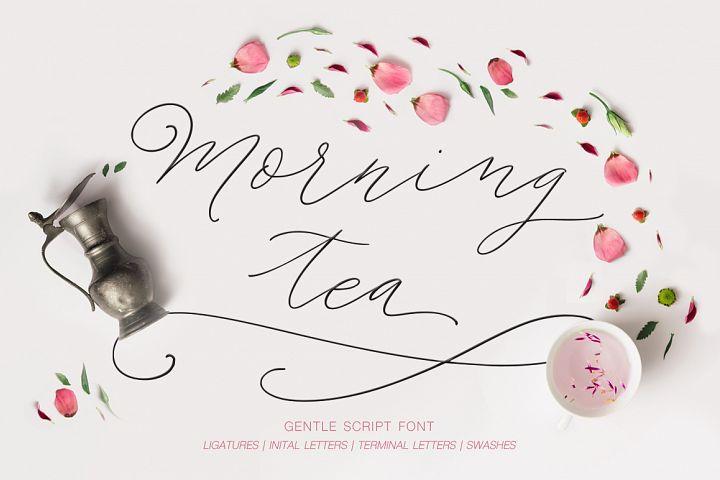 Morning tea. Script font.