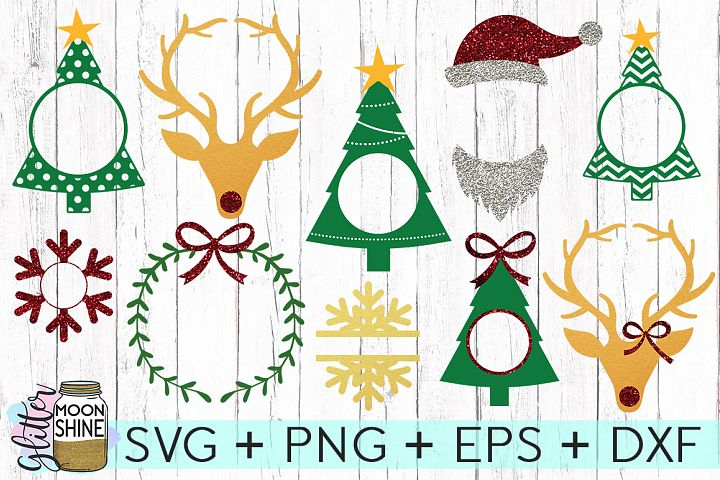 Christmas Monogram Frame Bundle SVG DXF PNG EPS Cutting Files