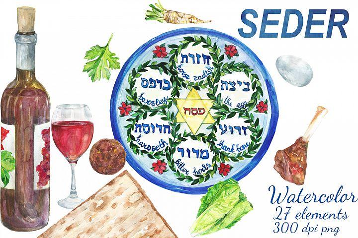 Watercolor Passover Seder digital clip art