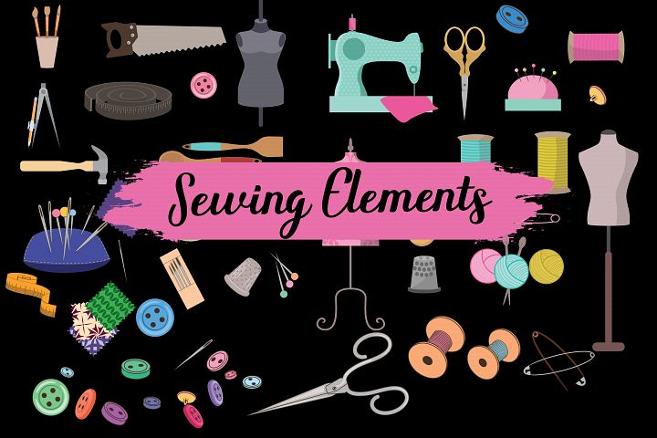 sewing elements,sewing clipart,sewing illustrations,tailor elements,tarilor shop elements,vintage sewing elements