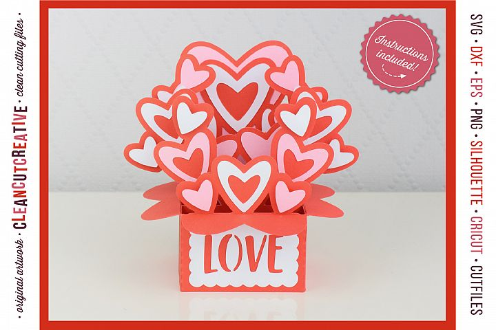 Love Box Card Valentine Card in a Box with cute hearts - SVG DXF EPS PNG - for Cricut & Silhouette - clean cutting files