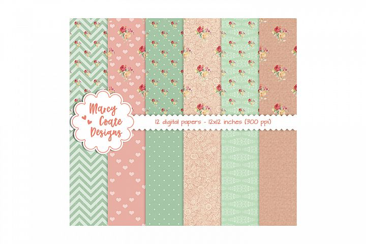 Shabby Rose Digital Papers, 12x12 inch backgrounds, 300 ppi, JPG files, perfect for printables, scrapbooking, card making, planner stickers, etc.