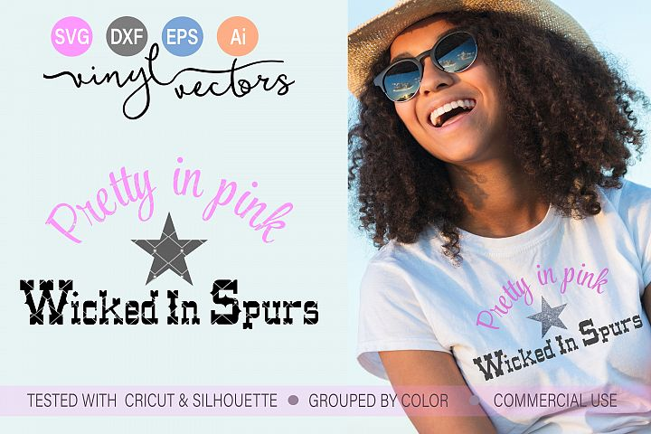 Pretty in Pink Wicked in Spurs cut ready file in SVG DXF