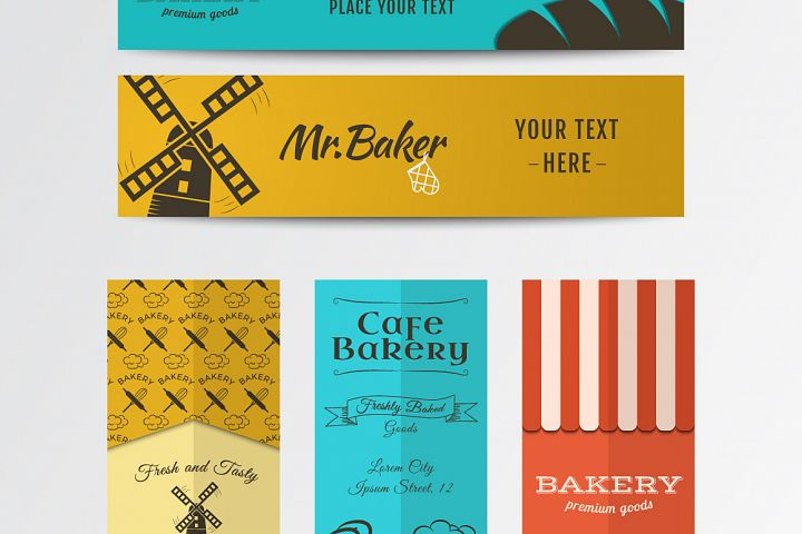 Bakery Banners & Seamless Patterns