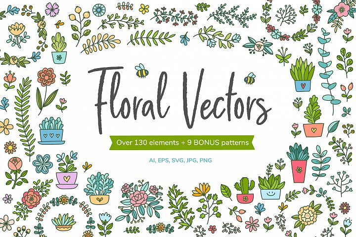 HUGE - Hand Drawn Floral Vectors and Patterns