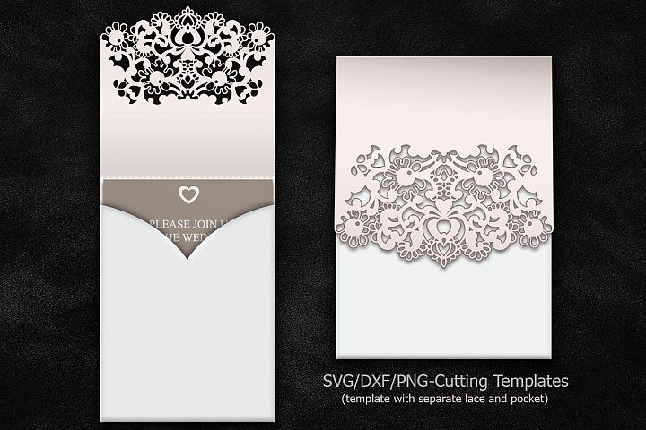 cricut laser cut wedding invitations, pocket invitation template, quinceanera svg, wedding pocket invitation lace, sobres para invitaciones