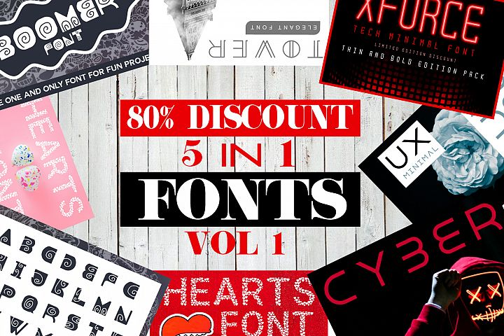 5 in 1 Font Bundle Vol. 1