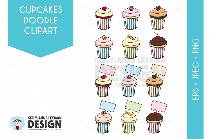 Doodle Cupcakes Clip Art Set, Hand drawn Food Clipart