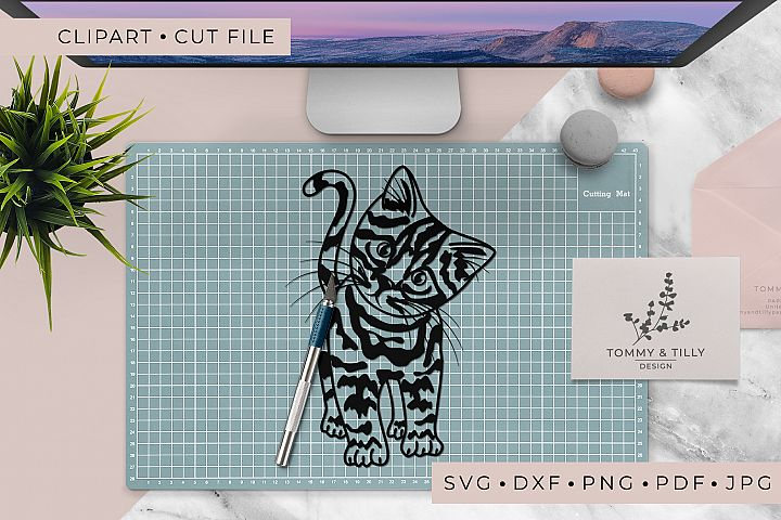 Kitten - SVG DXF PNG EPS JPG PDF Cutting File example 4