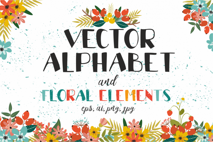 Vectot alphabet and floral elements