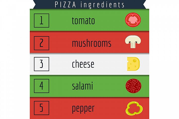Pizza and Ingredients Illustration example 2
