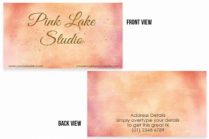 Blush, Apricot and Gold Glitter Business Card Template example 4