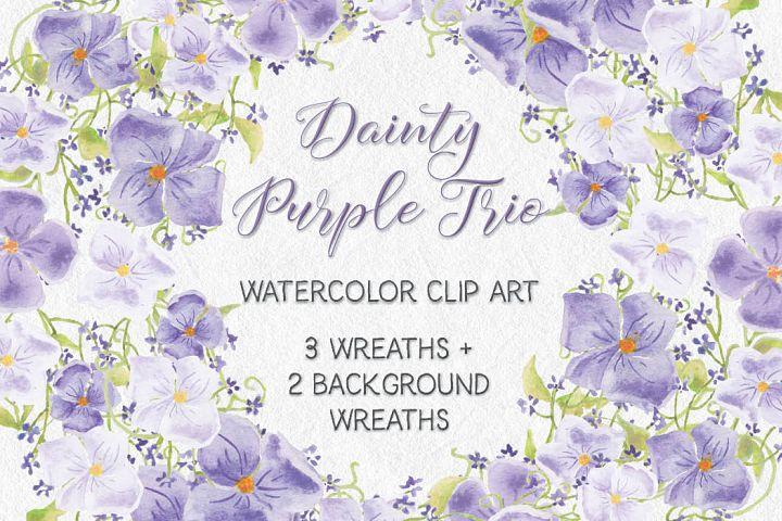 Dainty Purple Trio: watercolor wreaths