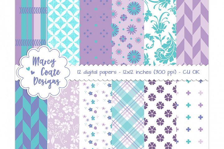 Purple & Turquoise digital papers, set of 12 printable papers