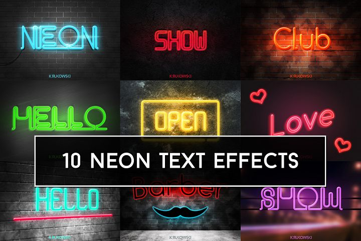 Neon Text Effects Mockup