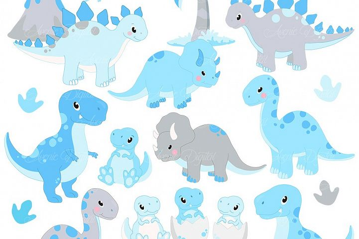 Cute Blue Dinosaur Clipart and Vectors