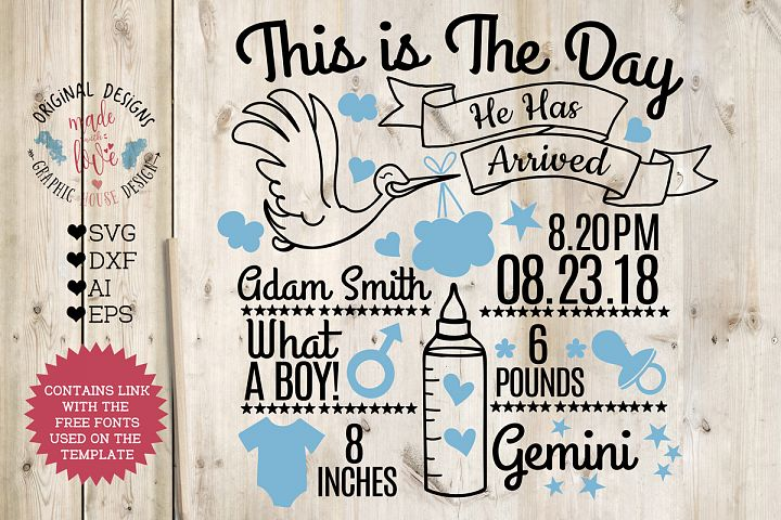 Baby Boy Birth Announcement - Chart in SVG, DXF, EPS, AI