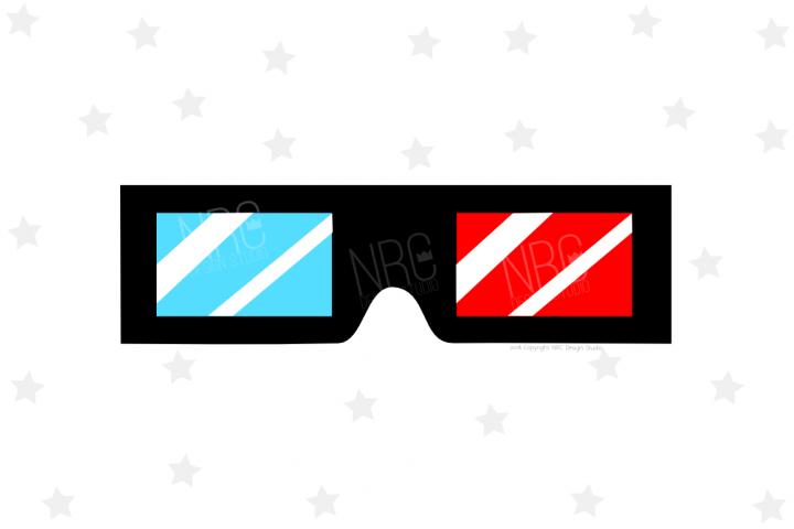 3D Movie Glasses SVG File