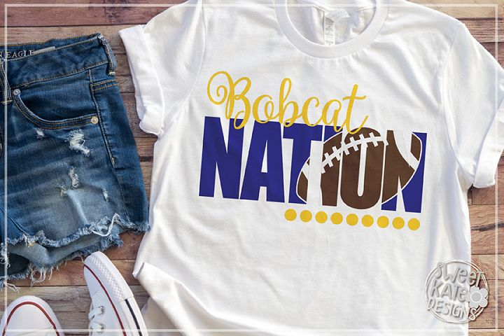 Bobcat Nation with Knockout Football SVG DXF EPS PNG JPG