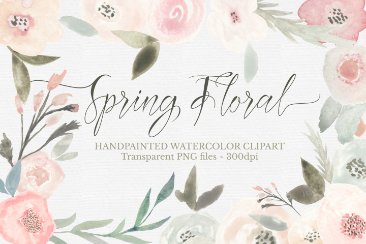Spring Floral Watercolor Clipart Set