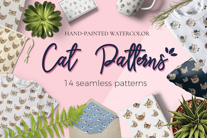 Cat watercolor patterns  - Free Design of The Week