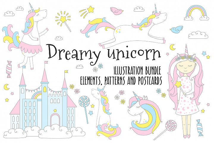 Dreamy unicorn, illustration bundle