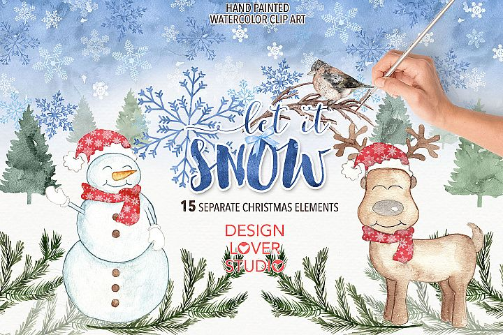 Watercolor Let it snow clip arts