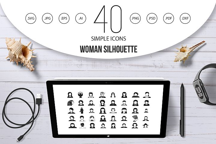 Woman silhouette icon set, simple style