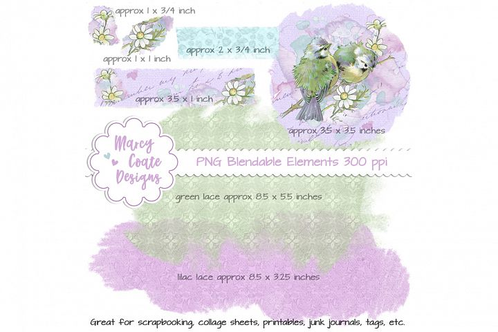 Watercolor Birds Blendable Elements and Overlays