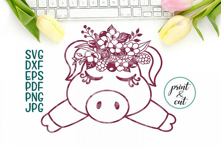 pig face svg file, baby pig with flowers paper cut template