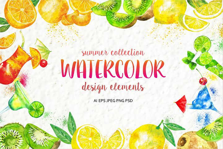 Set of watercolor fruits and cocktails. Summer collection of design elements.