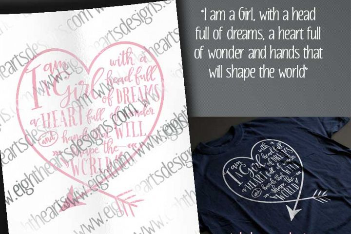I am a Girl -  Includes SVG, DXF, EPS and PNG