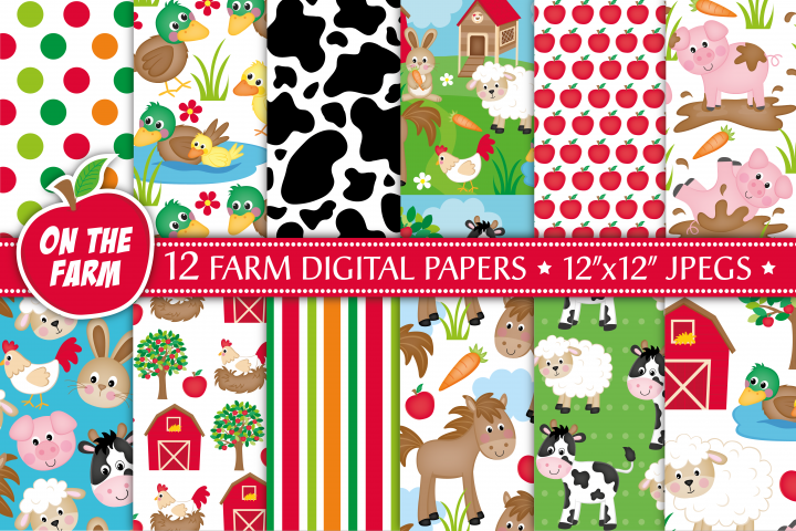 Farm digital papers, Farm animals digital papers, Farm patterns, Farm digital scrapbook papers