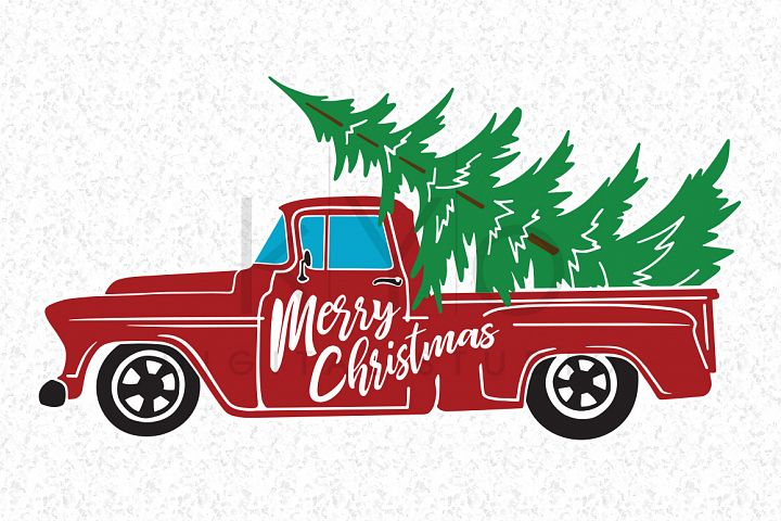 Christmas Truck SVG DXF PNG EPS vector files, Merry Christmas svg, Old truck, Red truck