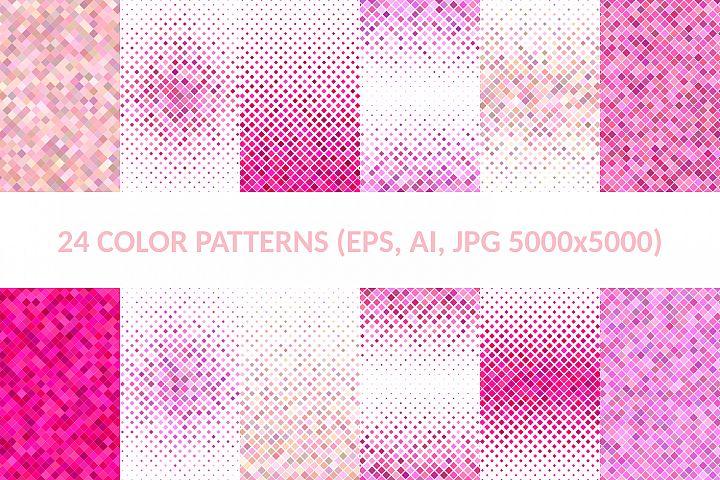 24 Pink Square Patterns (AI, EPS, JPG 5000x5000)