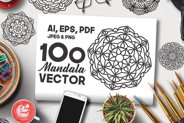 100 Vector Mandala Floral Ornaments