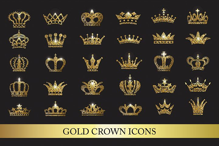 Set of gold crown icons. Collection of crown design elements for business style and logos, business card. Flat crown icons in black.