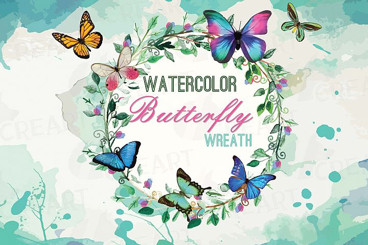 Watercolor Wreath with watercolour butterflies Clipart, Green Leaves and butterflies, Laurel Wreath, Watercolour background, Garden wedding