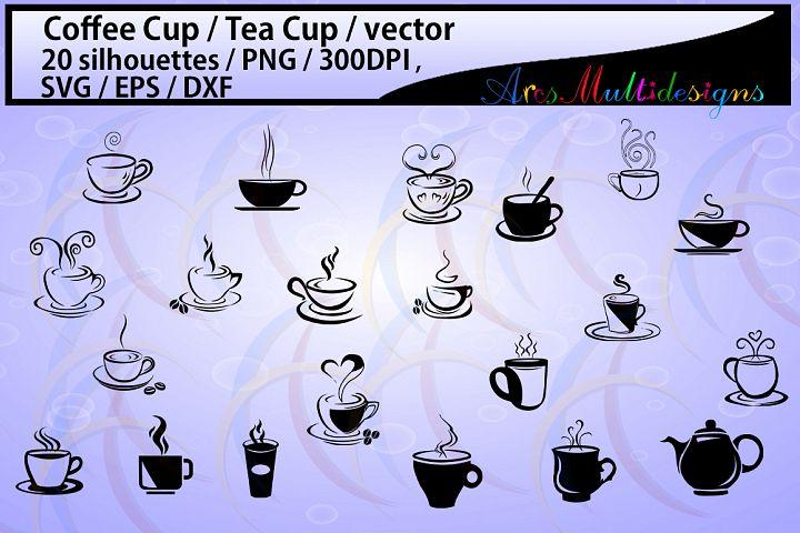 coffee svg / Tea mug / HQ / coffee cup silhouette svg / tea cup silhouette / SVG / PNg / EPS / Dxf files / vector / scrapbooking / coffee cup / mugs