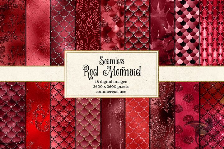 Red Mermaid Digital Paper
