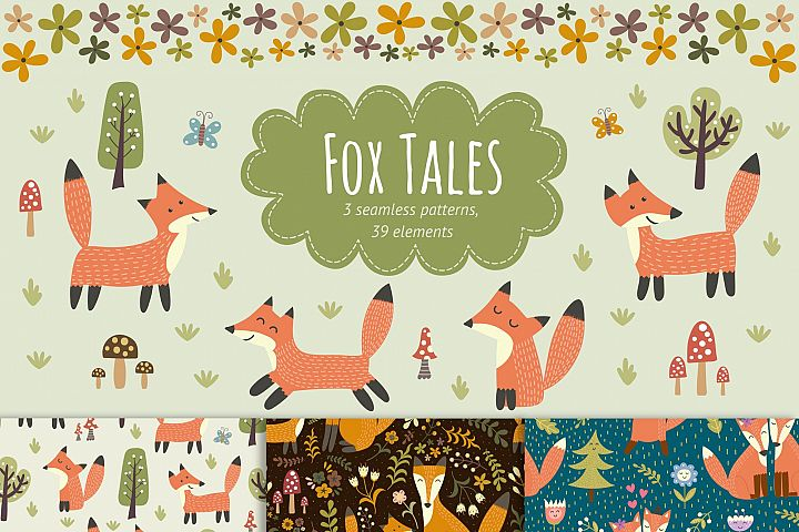 Fox Tales: patterns & clipart