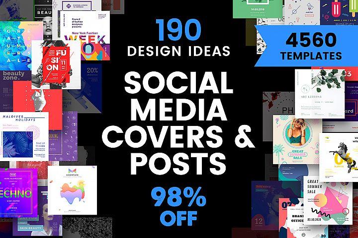Social Media Cover & Post Design Templates Bundle SALE