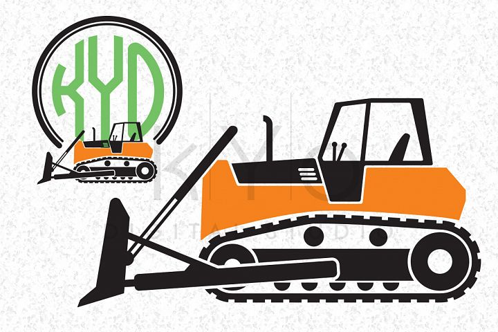 Bulldozer Construction SVG EPS PNG Vector images Transportation Digger Transport Tractor monogram frame cut files for Cricut Silhouette