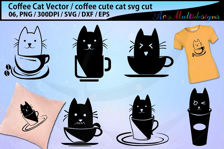 coffee cat silhouette SVG / coffee svg / cat svg / coffee silhouette / cat silhouette / vector coffee cat cut file- eps, svg, png , dxf