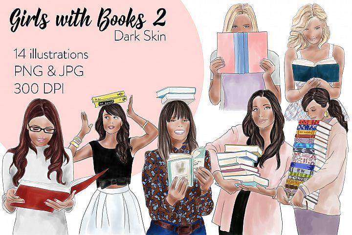 Fashion illustration clipart - Girls with books 2 - Dark Skin