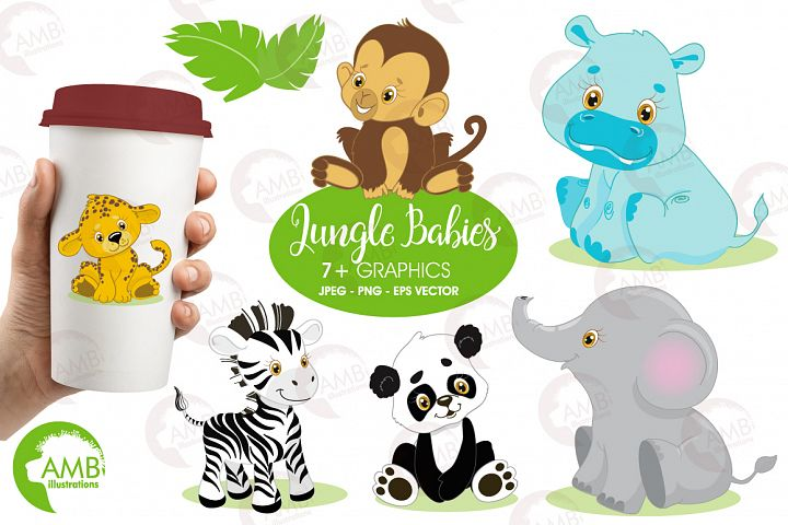 Jungle Babies clipart, graphics and illustration AMB-131