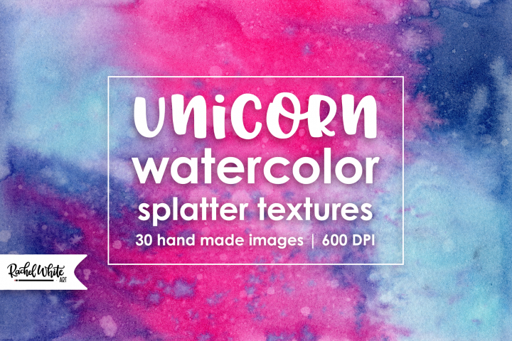 Unicorn Watercolor Splatter Textures