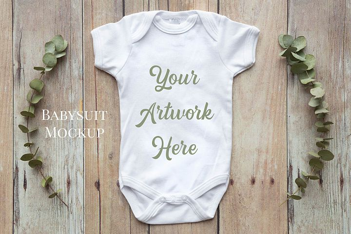 Onsie, Infant bodysuit Mockup, eucalyptus leaves
