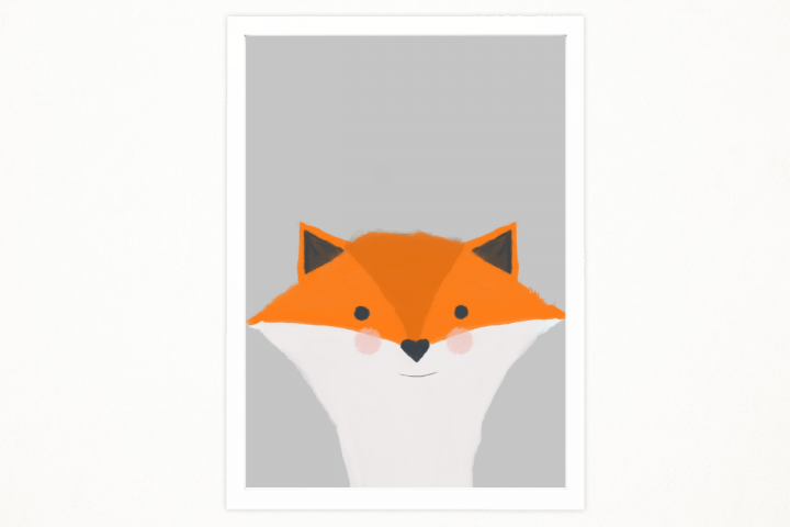 Handmade Little fox art printable in A4 to decor an special place. Babys room, kids room. Illustration, printing. Ready to print.